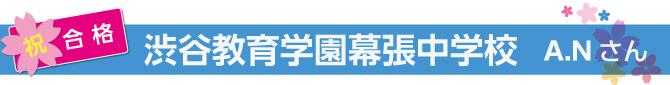 【渋谷教育学園幕張中学校合格】A・Nさん