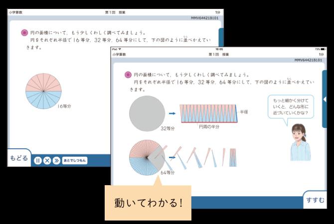 動きのある教材で視覚的な理解を促進(画面サンプル)
