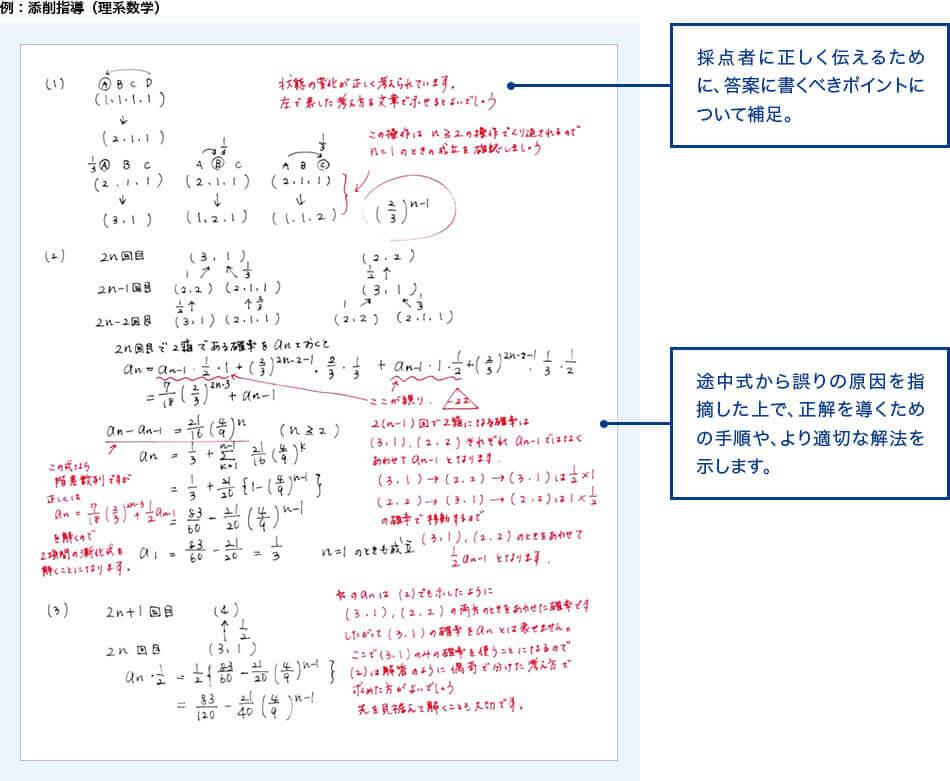 例:添削指導(理系数学)