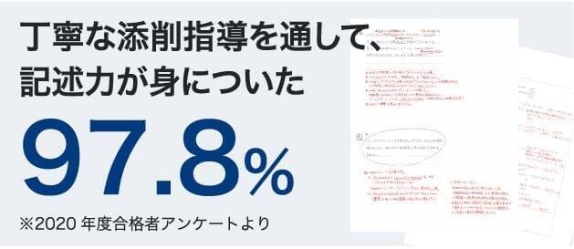 丁寧な添削指導を通して記述力が身についた:97.8%(2020年度合格者アンケートより)