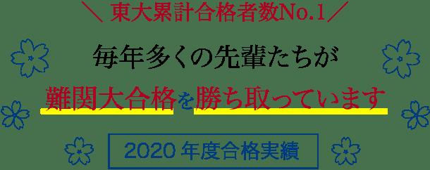 東大累計合格者数No.1【2020年度合格実績】毎年多くの先輩たちが難関大合格を勝ち取っています