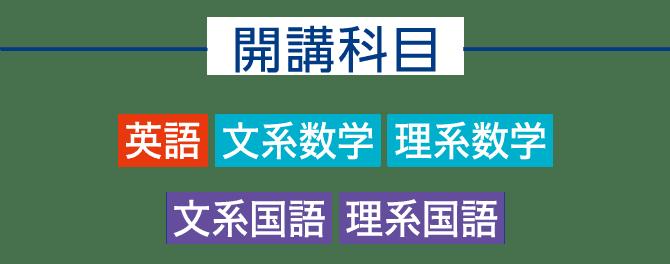 開講科目 英語 文系数学 理系数学 文系国語 理系国語