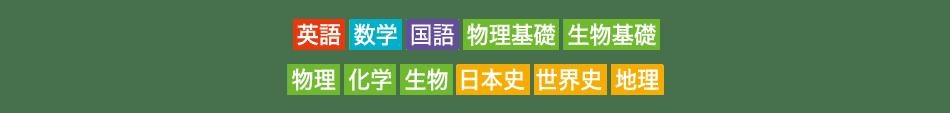 英語 数学 国語 物理基礎 生物基礎 物理 化学 生物 日本史 世界史 地理