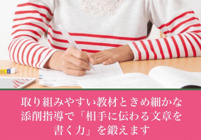 取り組みやすい教材ときめ細かな添削指導で「相手に伝わる文章を書く力」を鍛えます