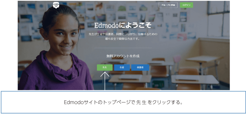 Edmodoサイトのトップページで先生をクリックする。